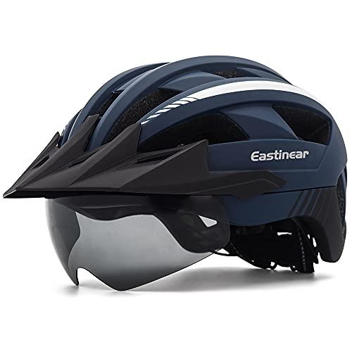EASTINEAR Fahrradhelm mit Visier LED Rücklicht MTB Helm für Erwaschen Herren Damen Mountainbike Helm mit Magnetische Brille Verstellbare Größe 57-61 cm (Marine)