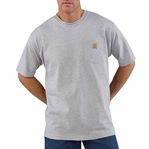 Carhartt mens K87 Workwear Short Sleeve T-shirt (Regular and Big & Tall Sizes) work utility t shirts, Heather Grey, X-Large US