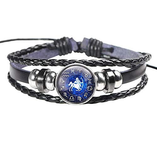 HINK Fashion Men Women Constellation 12 Zodiac Sign Bracelets Punk Woven Leather Bracelets Jewelry & Watches For Woman Valentine Easter Gift
