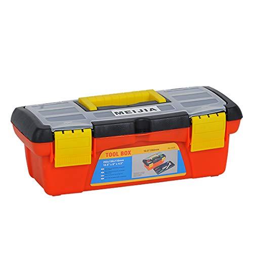 MEIJIA Caja de almacenamiento portátil para herramientas, organizadores con pestillos y bandeja desmontable, color negro y naranja (26,7 cm)