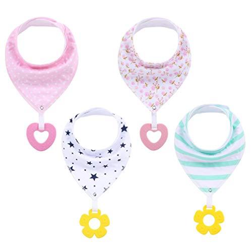 STOBOK - Baberos para bebé con anillas de dentición, algodón, baberos de comer, pañuelo para bebé recién nacido