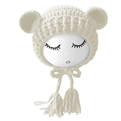 Chapeau Unisexe Nouveau-né bébé Filles garçons Belle Photographie Chapeau Props Costume vêtements Coiffure avec Cute Bear Doll Blanc