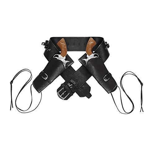Widmann 01052 - Doppelter Pistolenhalter, aus Kunstleder, Schwarz, Kostümzubehör Cowboy