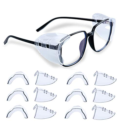 6 Pairs Eye Glasses Side Shields, Slip On Side Shields for Safety Glasses Flexible Fits Small to Large Eyeglasses Universal