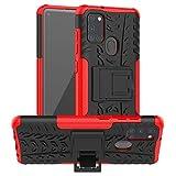 betterfon Hülle für Samsung Galaxy A21S - Handyhülle Samsung A21S Schutzhülle Silikon Hülle Cover mit [Standfunktion] für Galaxy A21S SM-A217F Rot