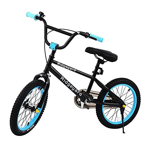 Muguang - Bicicleta BMX con sistema de rotor Freestyle 360º, 16 pulgadas, bicicleta BMX Freestyle 4 tacos (azul claro)