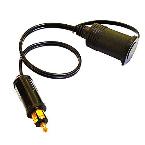 MOTOPOWER MP69003 Cigarette Lighter Male DIN Plug to Female Socket Adapter Cable with Waterproof Cap for Cars, Motorcycles, ATV