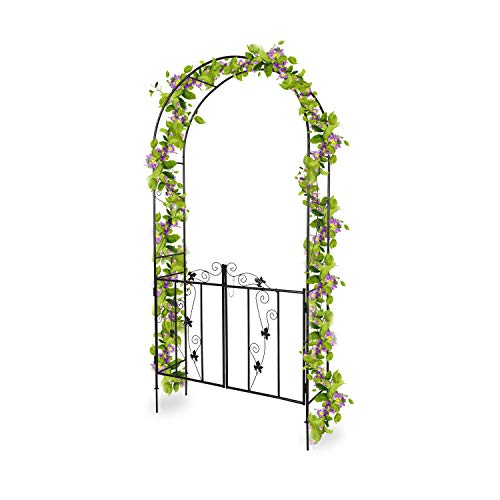 Kinsuite Garden Arbors and Arches with Door Metal Wedding Arch for Various Climbing Plant Outdoor Garden Lawn Backyard 7'H x3'7''W