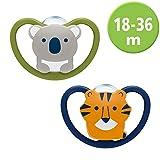 NUK Space sucette, 18-36mois, silicone, koala et tigre, lot de2