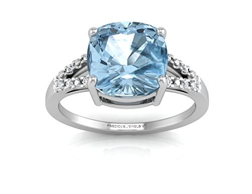 PJUK AGI womens white gold blue topaz and diamond shoulders ring