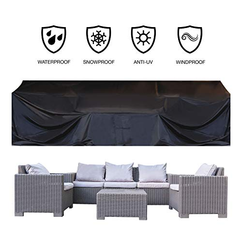 "JOORY Patio Furniture Cover Outdoor sectional Furniture Covers Waterproof Dust Proof Furniture Lounge Porch Winter Sofa Cover Protector D126""x W63""x H28"""