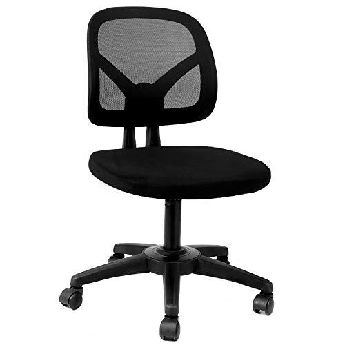 Hbada Bürostuhl Drehstuhl Schreibtischstuhl Ergonomische Rückenlehne ohne Armlehnen leicht Stuhl Esszimmerstühle Platzsparend Armless Höhenverstellung Schwarz
