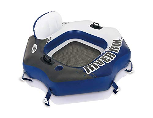 Intex 58854EP River Run Connect Lounge Inflatable 1 Person Floating Tube with Built-in Cup Holders and Patch Repair Kit