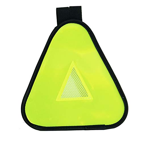 Vincita Reflective Yield Symbol with Hook and Loop Strap - High Visibility for Safety at Night - Safety Reflector for Bike Rack, Stroller, Backpack, Car Rack - Bicycle Reflective Accessories (Yellow)