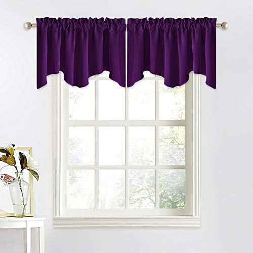 NICETOWN Blackout Window Curtain Valance - 52 inches by 18 inches Small Scalloped Valance Window Curtain Panel Tier for Living Room/Bedroom/Bay Window Decoration (Royal Purple, 1 Panel)