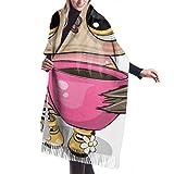 Damen Wickeldecke Schal, Klassischer Kaschmir fühlen sich Unisex Winterschal, Cartoon Eule mit rosa Tasse Kaffee Vektor lange große warme Schals Wrap Schal gestohlen