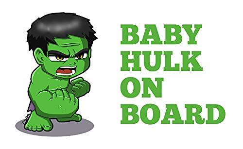 SENZA MARCA Adesivo Baby ON Board per Auto - Bebè a Bordo/Bebè in Car Decalcomanie Etichetta Sticker Adesivo Divertente Supereroi - Bimbo Safety Sign Car Sicurezza (Baby Hulk)