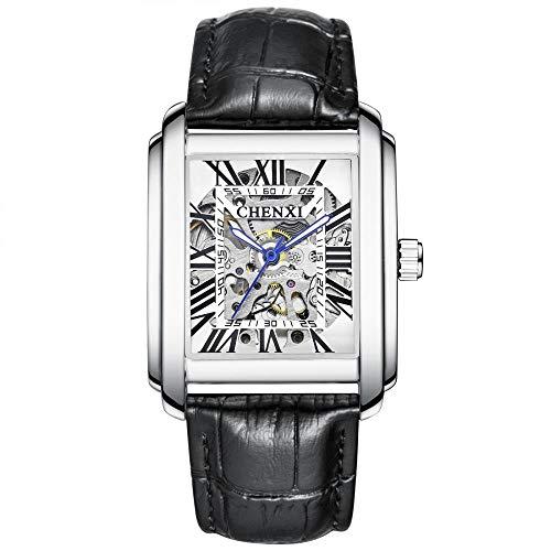Smartwatches,Quadratische Mechanische Uhr Herren Lederarmband wasserdichte Hohle Zifferblattuhr, Weiße Schale, Weißes Zifferblatt Und Schwarzer Gürtel