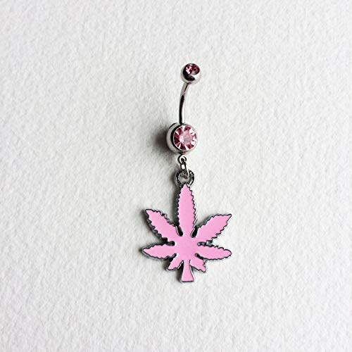 Pink Marijuana Leaf Belly Button Ring, Cute, Stoner Accessories, Surgical Steel, Navel Body Jewelry Bellybutton Ring 420 Weed Hemp Cannabis
