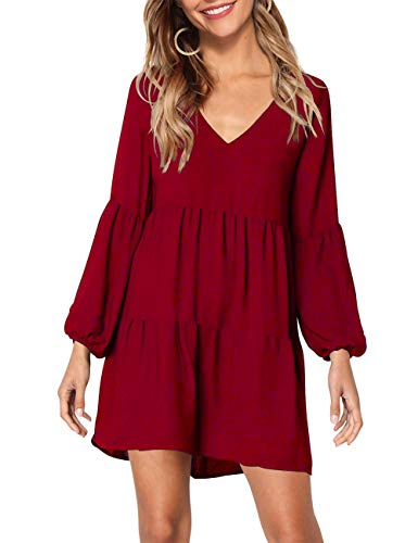 KOJOOIN Tunika Kleid Boho Bohemian Kleid Vintage Kleid Lose Casual Swing Kleid mit Gerafft Schmeichelhaft Weinrot S