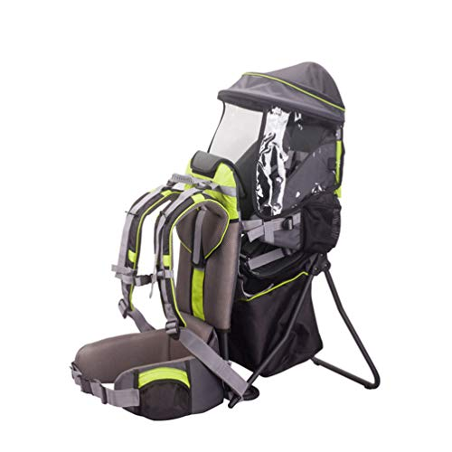 BJYX Babyrúckentragen Tragbar und Faltbar mit Markise Babytragen für Bergsteigen Reisen Wandern Outdoor Camping Maximale Belastung 20 Kg,Grün