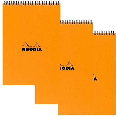 Rhodia Wirebound Pad - A4 (8.25 x 11.75 inches) - Grid, Orange, Pack of 3