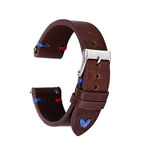 KZFASHIONS Genuine Leather Watch Bands for Quickly Release Pattern Sude Leather Watch Straps Replacement watchbands 18mm 20mm 22mm 24mm (20mm, Brown with Red Blue Stitching)