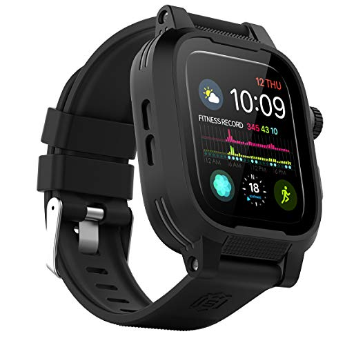 Waterproof Apple Watch Case 44mm Series 5 & 4 with Premium Bands, Built-in Screen Protector Full Body Rugged iWatch Protective Case Anti-Scratch Drop Shock Proof Apple Watch Case (44mm)