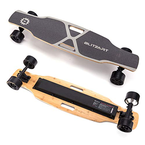 BLITZART X-Plore 38' Electric Skateboard Longboard E-Skateboard Motorized Electronic Skateboard 17mph 3.5' Brushless Hub-Motor Wheel(Black)