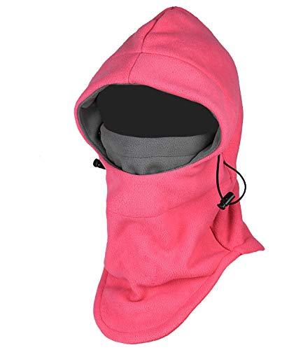 Purjoy Multipurpose Use 6 in 1 Thermal Warm Fleece Balaclava Hood Police Swat Ski Bike Wind Stopper Full Face Mask Hats Neck Warmer Outdoor Winter Sports Snowboarding Cap(Rose+Grey)