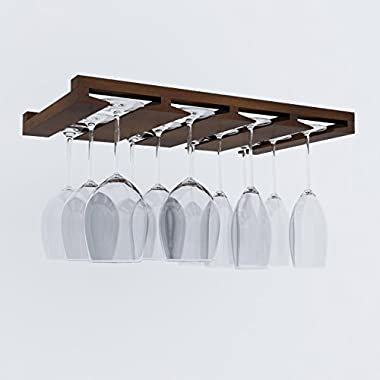 Artifact Design Wine Glass Rack Makes Dull Kitchens or Bar Looks Great Perfectly Fits 6 -12 Glasses Under Cabinet Easy to Install with Included Screws Great Hanging Bar Glass Rack (Chestnut Stained)