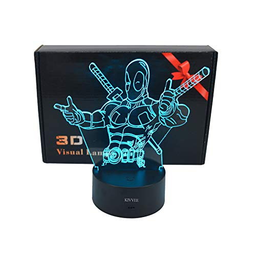 VALEN 3D Desk lamp Acrylic Deadpool Night Light 7 Color Change Furniture Decorative Colorful Gift Household Accessories Boy Toys