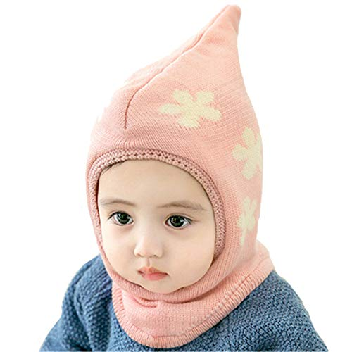 Wxllzlife Baby Kids Warm Winter Hats Baby Girls Winter Hat Cute Thick Earflap Hood Hat Scarves with Ears 3M-26M Pink