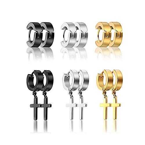 Flongo - Pendientes de acero para hombre, diseño circular en negro, ideal como regalo de Navidad o San Valentín 6paia B