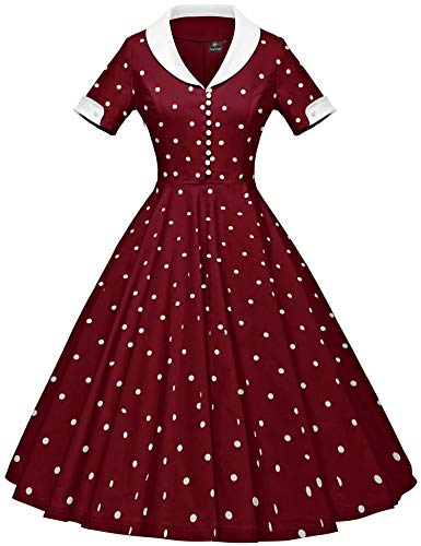 GownTown Womens 1950s Cape Collar Vintage Swing Stretchy Dresses Dark Red