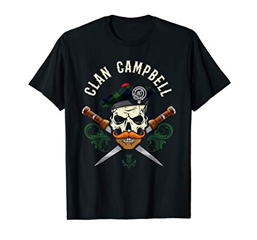 Scottish Clan Campbell Bad Ass Skull with Tam Clan Badge T-Shirt