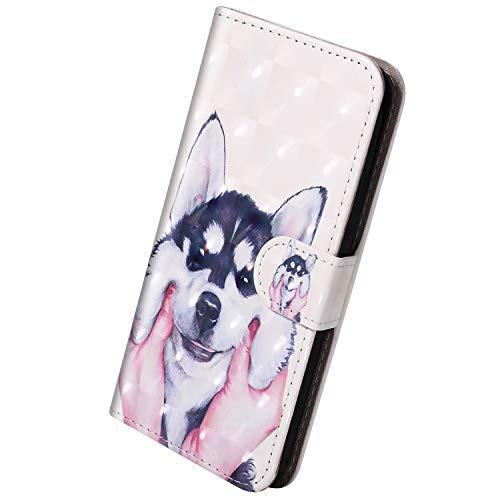 Herbests Kompatibel mit Huawei Mate 20 Lite Hülle Klapphülle Leder Tasche Flip Schutzhülle Wallet Handyhülle 3D Bunt Muster Bling Glitzer Brieftasche Handytasche Case,Haustier Hund