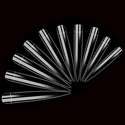 AORAEM Stiletto False Nail Clear Extra Long Sharp Nail Art Tips 12 Sizes 120 Pcs Acrylic Fake Nail (Clear Long Nail)