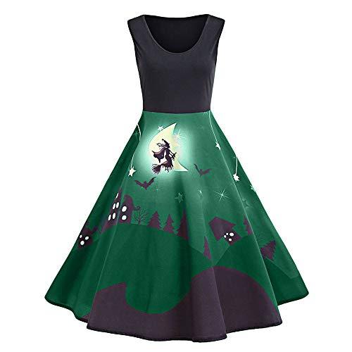 Calvinbi Damen Vintage Kleid V Ausschnitt Elegante Kleider Damenkleider mit Schläger Knielang Ärmellos Abend Prom Swing Dress Soft und Stretch...