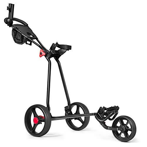 COSTWAY Carrito de Golf con 3 Ruedas Carro de Golf Plegable Carro de Empuje con Paragüero Portavasos y Soporte para...