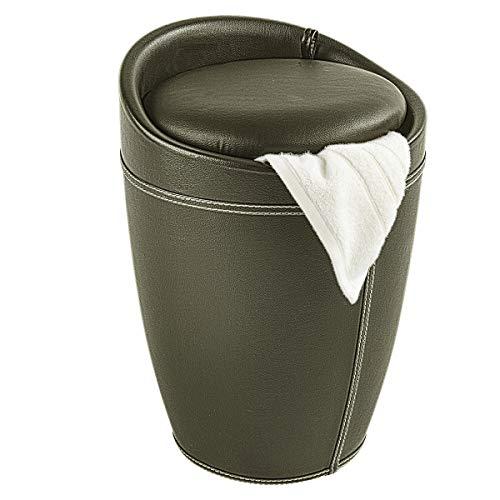 WENKO Badhocker Candy Leder Optik Braun, Hocker mit Stauraum für das Badezimmer und Wohnzimmer, integrierter Wäschesammler, ABS-Kunststoff, Fassungsvermögen 20 L, Ø 36 x 50,5 cm