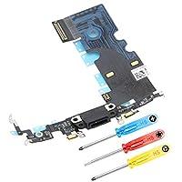 MMOBIEL Dock Connector Kompatibel mit iPhone SE 2020 / iPhone 8 Series 4.7 inch (Space Grey/Schwarz) Lade Port Flex 2X Mic Antenne + Lautsprecher Homebutton und Vibratiosmotor Anschluss installierert inkl. 3X Schraubenzieher Umfangreiches Reparatur S...