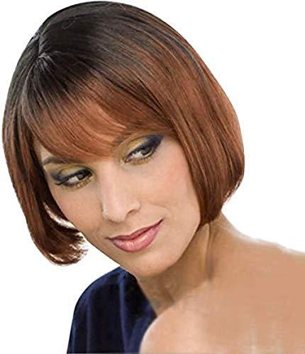 Zubehör Pflege Haarteile PerückenKurzes Haar Ombre Brown BobFür Frauen KurzesglattesHaar SynthetischehitzebeständigeParty Perücke mit Perückenkappe 14 Zoll