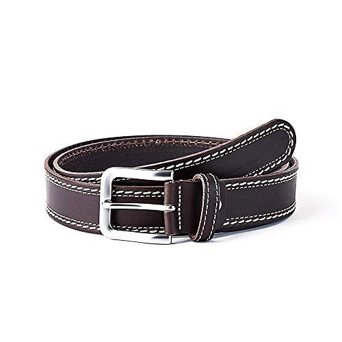 GS Urban Cinturón piel SAUVAGE doble cosido marrón [AC0769]