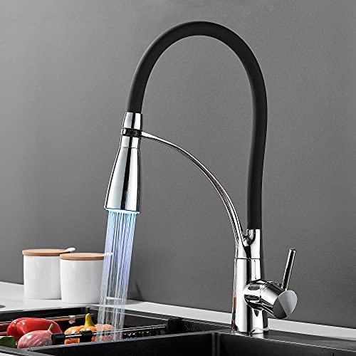 DesignSter Grifo de Cocina, Led Grifo Fregadero Cocina Extraible, Grifo de Cocina Monomando Agua Fría Y Caliente, Grifo Cocina Flexible