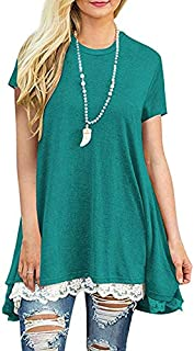 Festnight Solid Color Tee,New Casual Women Lace Splice T-Shirt O Neck Short Sleeve Solid Color Asymmetric Top Blouse