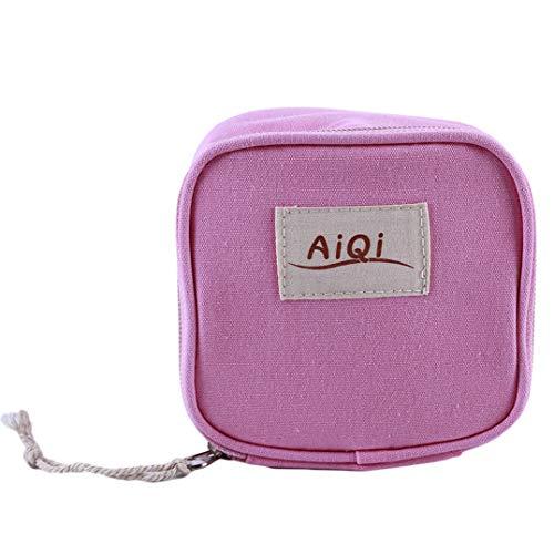 Underleaf Candy Farbe Damenbinde Tasche Geldbörse Brieftasche Baumwolle Leinen Protable Makeup Aufbewahrungsbeutel Reisetasche (Color4)