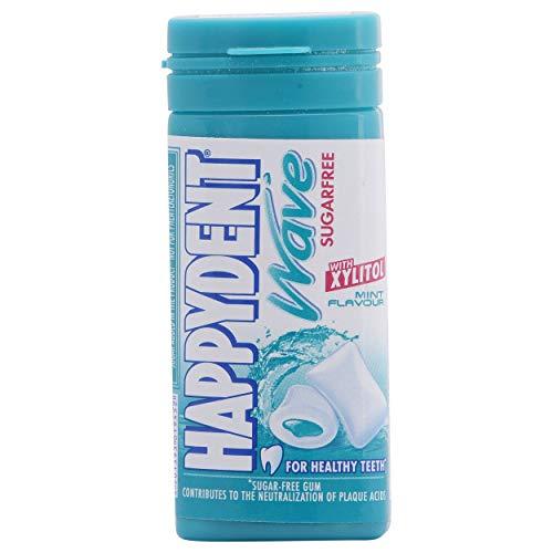 Happydent Wave, Xylitol Sugarfree Mint Flavour, Bubble Gum Pocket Bottle, 18 Pieces, 30.6 g