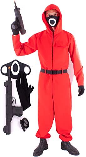 Gojoy Shop Disfraz de Calamar, Traje de Squid Game Calamar,para Adulto y Niño, Contien:(Mono Rojo con Capucha,Cinturón,Metralleta Jueguete,Guante y Mascara.6 Talla Diferente..) (Círculo, 10-12 años)