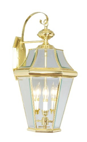 Livex Lighting 2361-02 Outdoor Wall Lantern with Clear Beveled Glass Shades, Polished Brass
